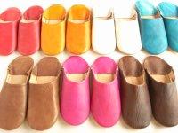 モロッコの革製バブーシュ(室内履き・女性用)