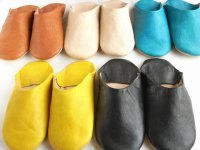 モロッコの革製バブーシュ(室内履き・男性用)